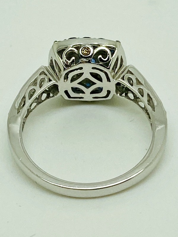 14K white gold 0.50ct Natural Blue Sapphire and 0.75ct Diamond Ring - image 4