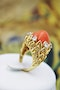 An Exceptionally Fine Coral & Diamond Ring in 18 Carat Yellow Gold (French Marked), Circa 1970. - image 3