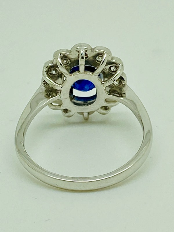 18K white gold 2.00ct Natural Blue Sapphire and 0.50ct Diamond Ring - image 3