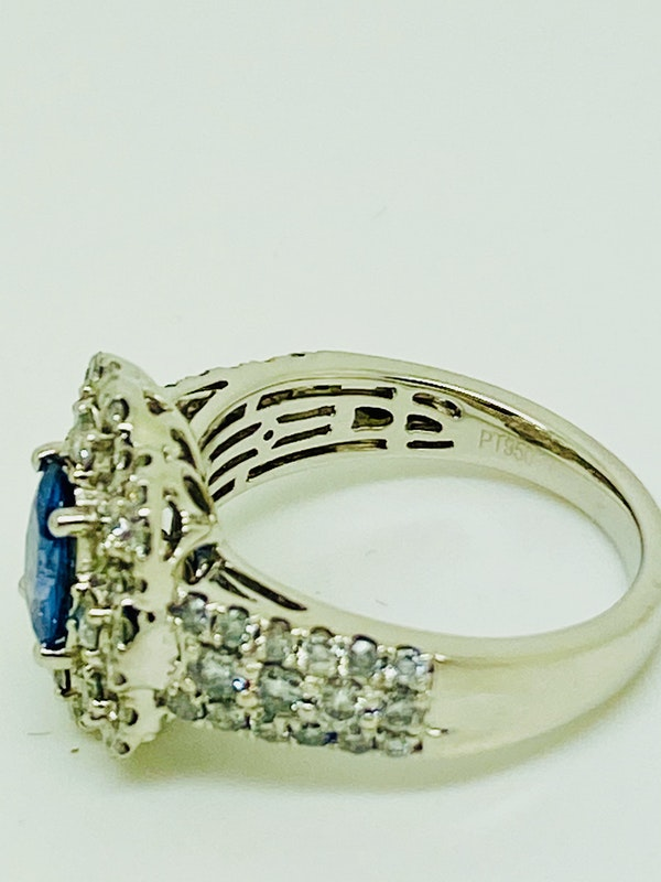 Platinum 1.75ct Natural Blue Sapphire and 2.00ct Diamond Ring - image 3
