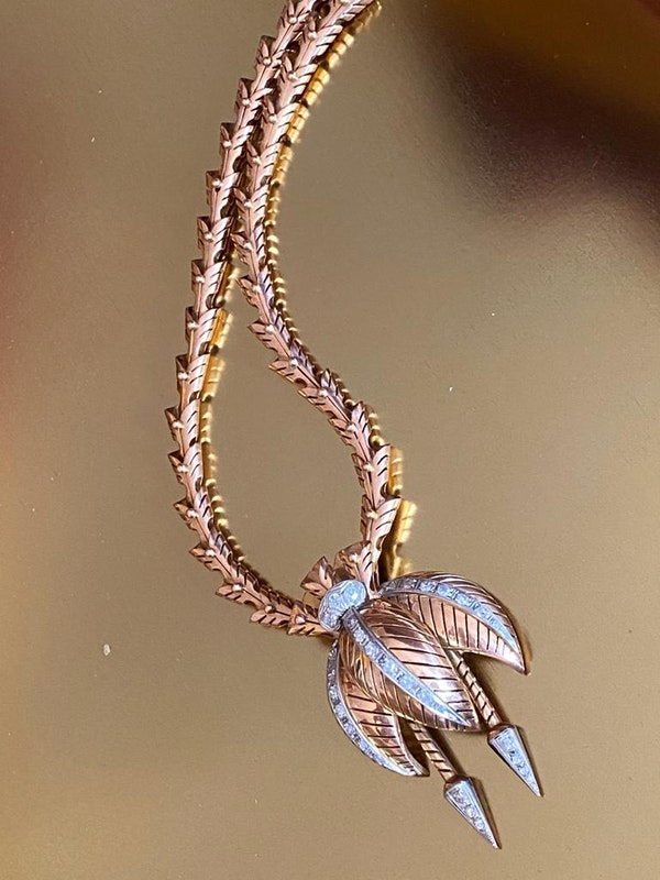 Retro Stylised Flower Drop Pendant - image 4
