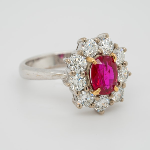 Ruby and diamond modern cluster ring - image 2