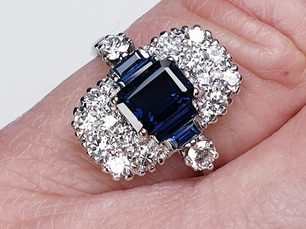 French Art Deco Sapphire and Diamond Ring  DBGEMS - image 5
