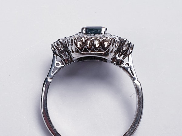 French Art Deco Sapphire and Diamond Ring  DBGEMS - image 4