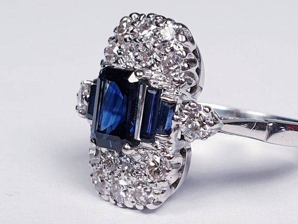 French Art Deco Sapphire and Diamond Ring  DBGEMS - image 2