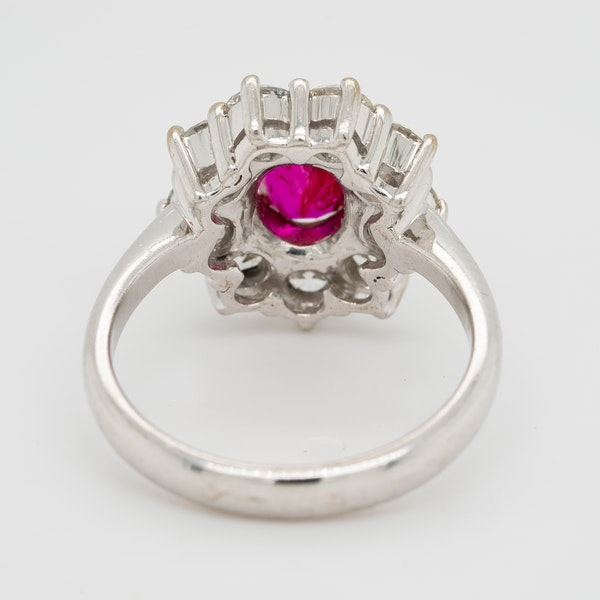 Ruby and diamond modern cluster ring - image 4