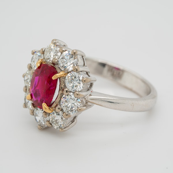 Ruby and diamond modern cluster ring - image 3