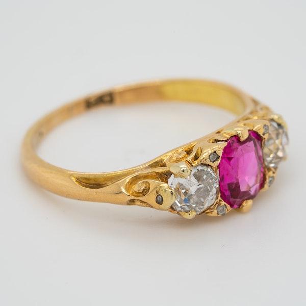 3 stone Burma ruby and diamond  carved half hoop ring - image 2