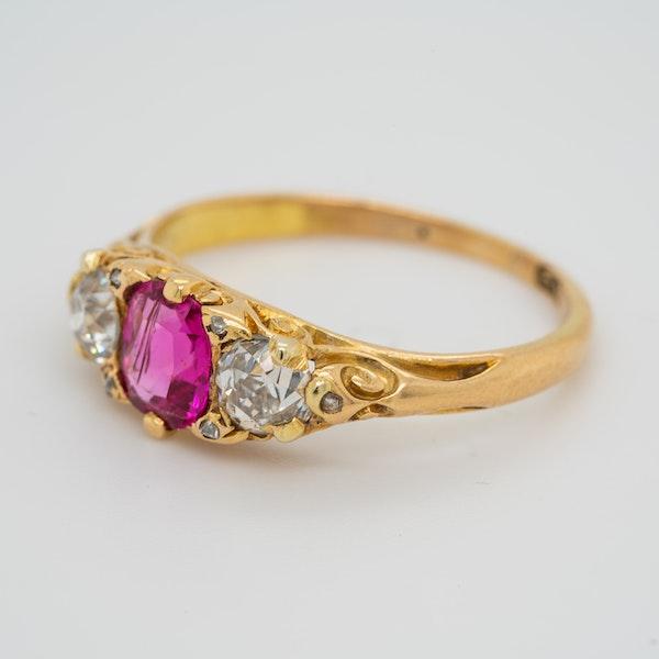 3 stone Burma ruby and diamond  carved half hoop ring - image 3