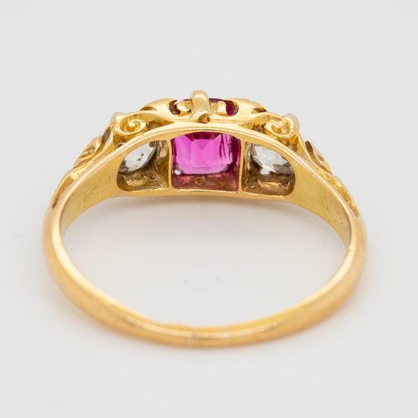 3 stone Burma ruby and diamond  carved half hoop ring - image 4