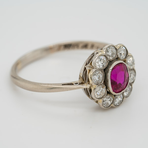 Edwardian ruby and diamond cluster ring - image 2