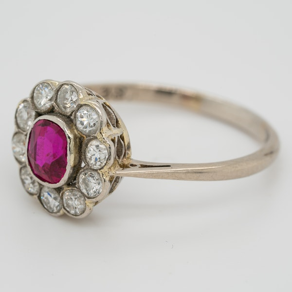Edwardian ruby and diamond cluster ring - image 3