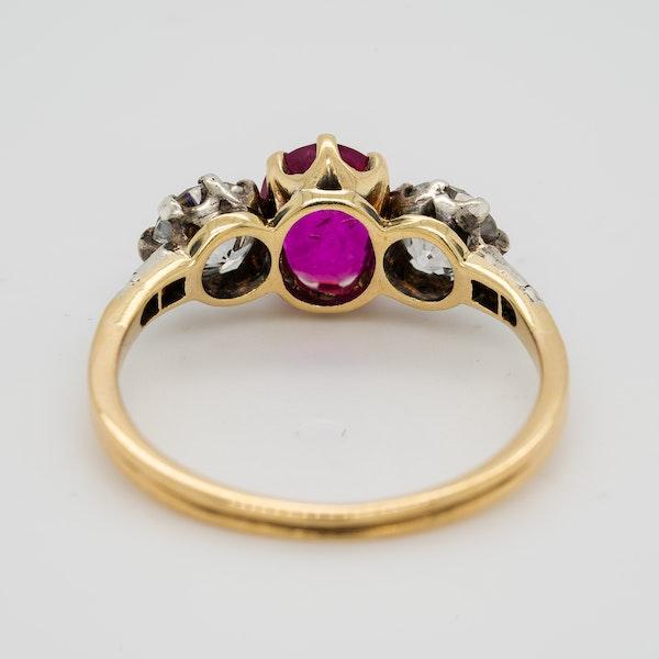3 stone Burma Ruby and diamond Victorian ring - image 4