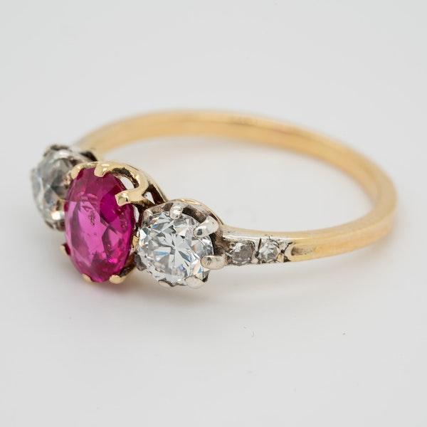 3 stone Burma Ruby and diamond Victorian ring - image 3