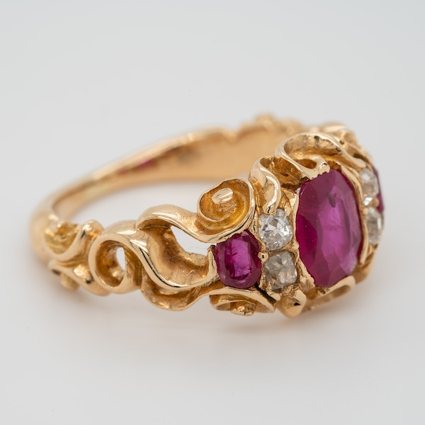 Victorian Burma ruby and diamond ring with certificate - image 2