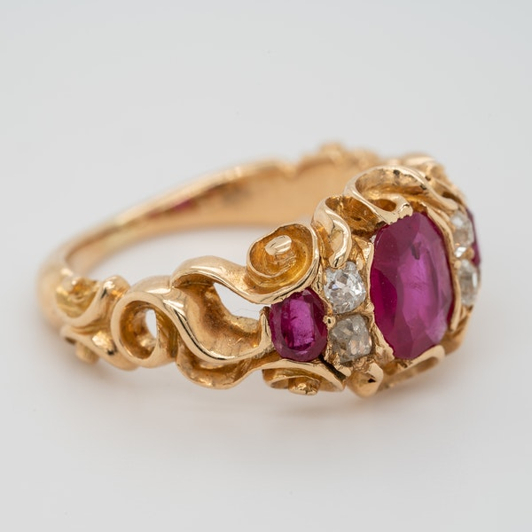 Victorian Burma ruby and diamond ring with certificate - image 3