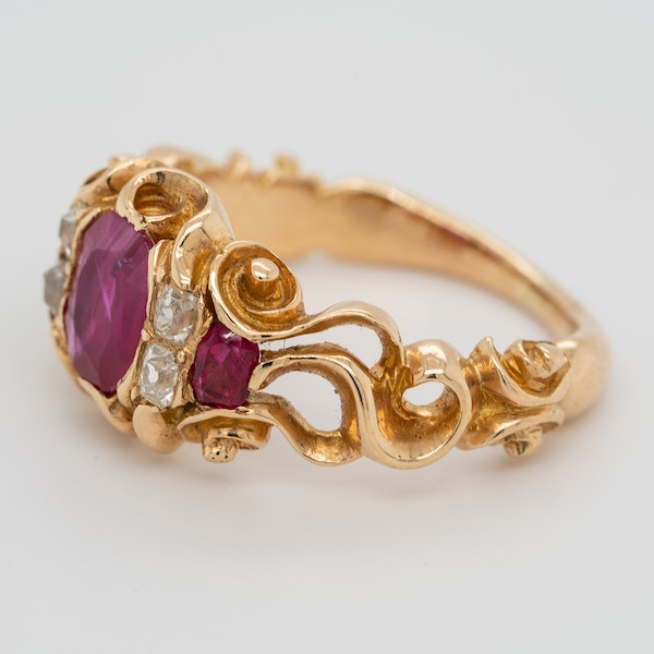 Victorian Burma ruby and diamond ring with certificate - image 4