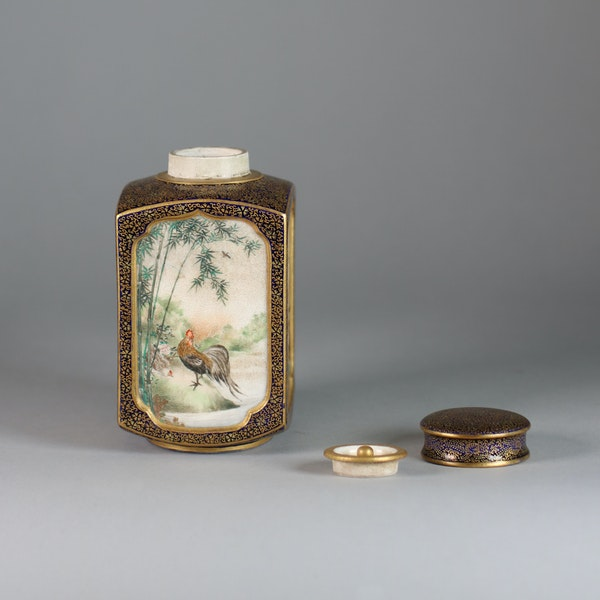 A Japanese Satsuma tea caddy with inner and outer cover - image 2