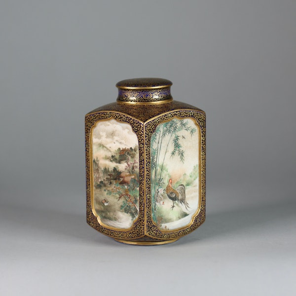 A Japanese Satsuma tea caddy with inner and outer cover - image 5