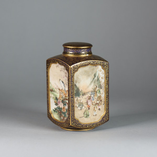 A Japanese Satsuma tea caddy with inner and outer cover - image 4
