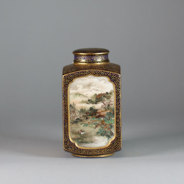 A Japanese Satsuma tea caddy with inner and outer cover - image 6
