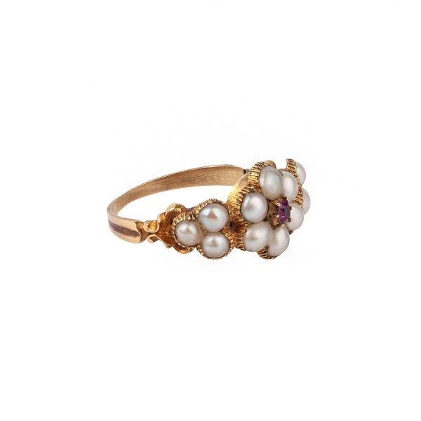 Georgian ruby and pearl ring - image 2