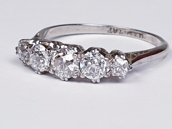 Art Deco Five Stone Diamond Ring  DBGEMS - image 3
