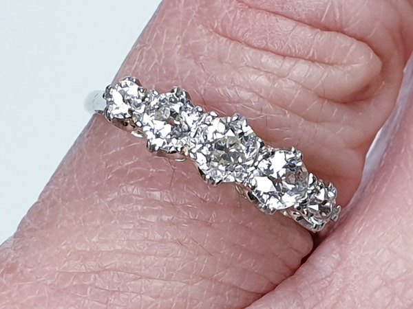 Art Deco Five Stone Diamond Ring  DBGEMS - image 2