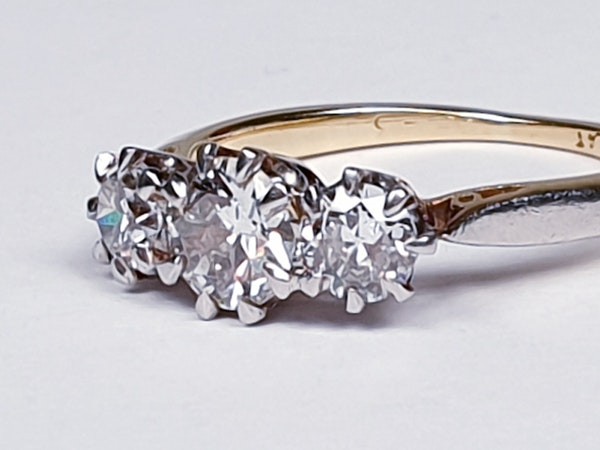 Victorian Old Cut Diamond Three Stone Diamond Ring  DBGEMS - image 4