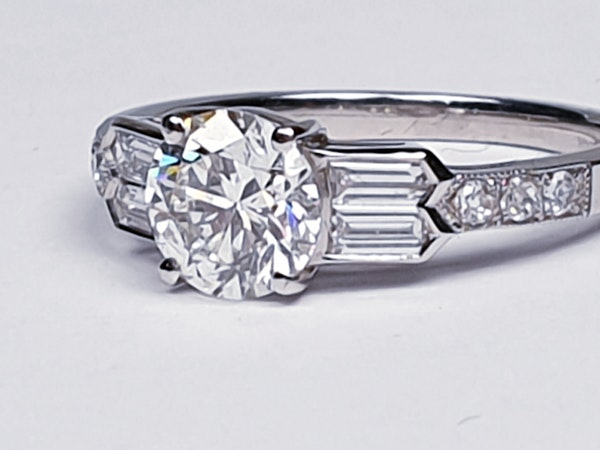 1.14ct diamond and baguette diamond engagement ring  DBGEMS 4379 - image 2