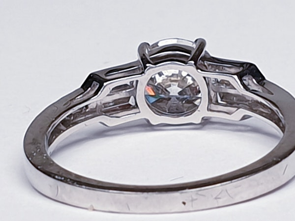 1.14ct diamond and baguette diamond engagement ring  DBGEMS 4379 - image 4