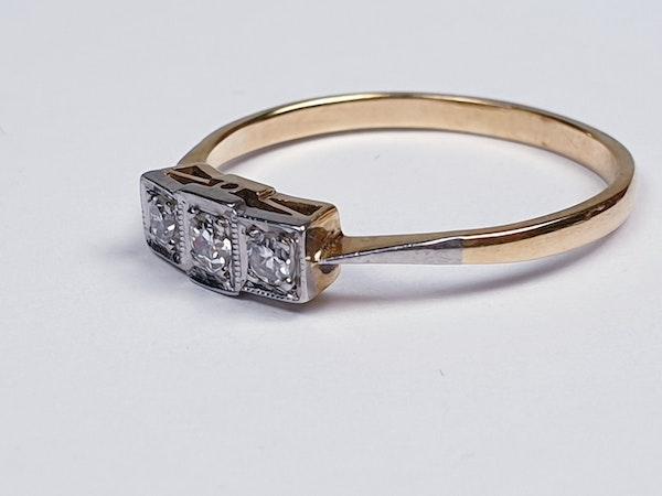 Edwardian Three Stone Diamond Ring  DBGEMS - image 5