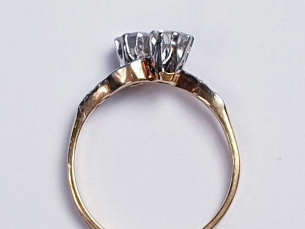 Edwardian Two Stone Diamond Cross Over Engagement Ring  DBGEMS - image 5