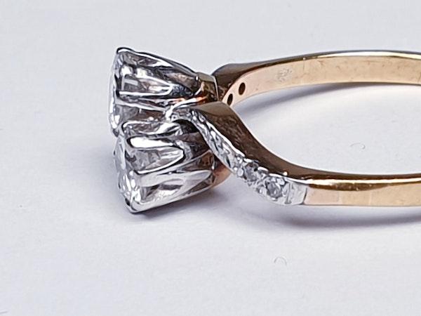 Edwardian Two Stone Diamond Cross Over Engagement Ring  DBGEMS - image 3