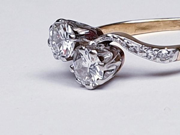 Edwardian Two Stone Diamond Cross Over Engagement Ring  DBGEMS - image 2