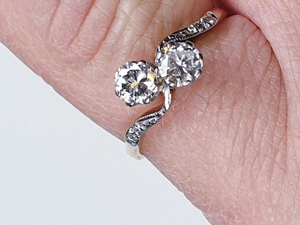 Edwardian Two Stone Diamond Cross Over Engagement Ring  DBGEMS - image 4