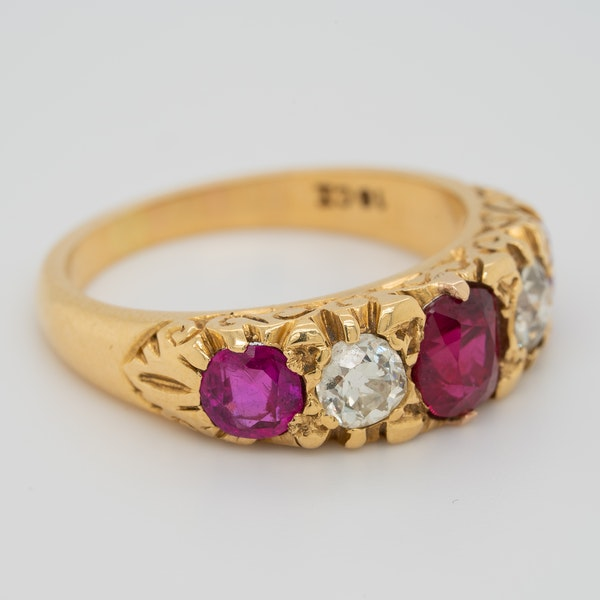 5 stone ruby and diamond ring - image 2