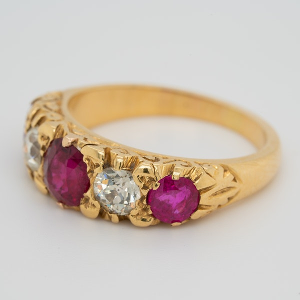 5 stone ruby and diamond ring - image 3