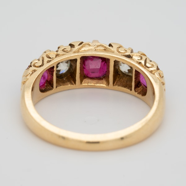5 stone ruby and diamond ring - image 4