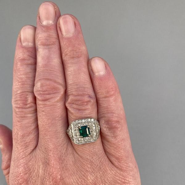 1920's, Platinum & 18ct White Gold, Emerald & Diamond stone set Ring, SHAPIRO & Co since1979 - image 2