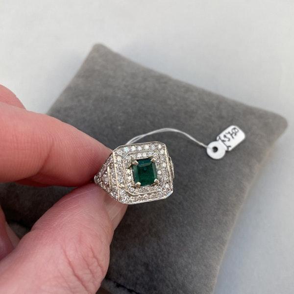 1920's, Platinum & 18ct White Gold, Emerald & Diamond stone set Ring, SHAPIRO & Co since1979 - image 4