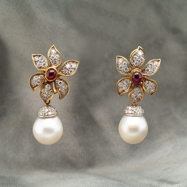 Cabochon ruby and diamond clip earrings with detachable  pearl and diamond  drops - image 1