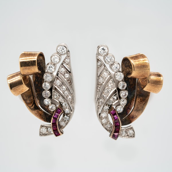 Diamond and ruby wing shape 2 colour gold earrings - image 1