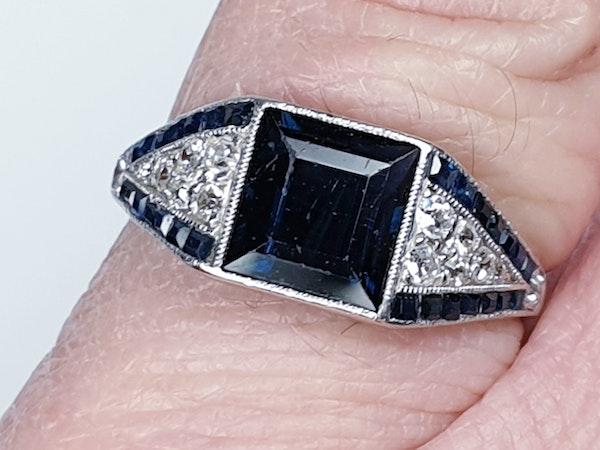 Art Deco Sapphire and Diamond Ring  DBGEMS - image 2