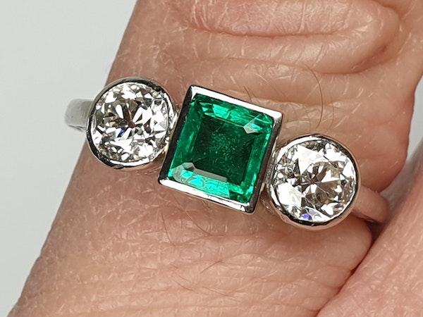 Columbian emerald and diamond engagement ring  DBGEMS - image 4