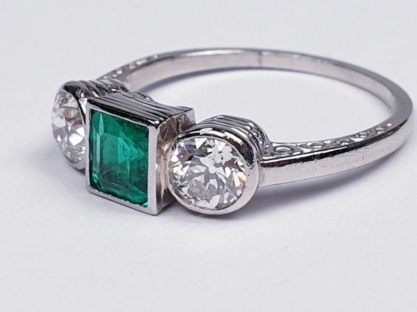 Columbian emerald and diamond engagement ring  DBGEMS - image 2