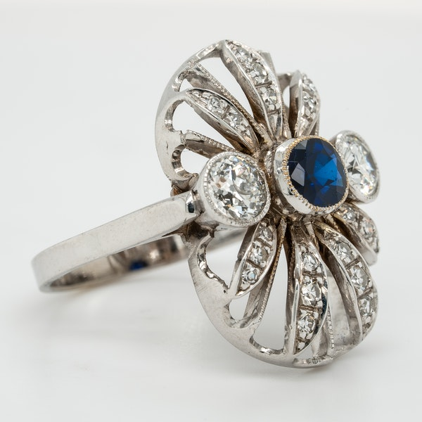 Diamond and sapphire  large oval tablet ring - image 2