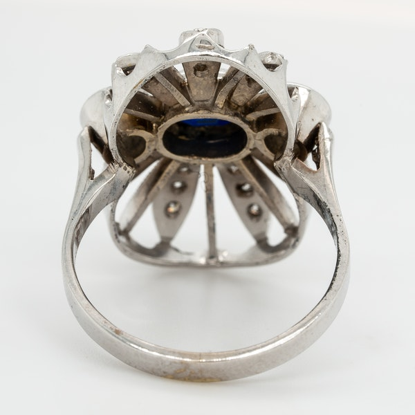 Diamond and sapphire  large oval tablet ring - image 4