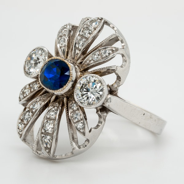 Diamond and sapphire  large oval tablet ring - image 3