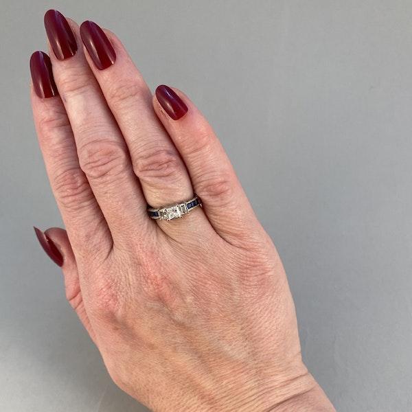 1970's, 18ct White Gold Diamond and Sapphire stone set Ring, SHAPIRO & Co since1979 - image 3
